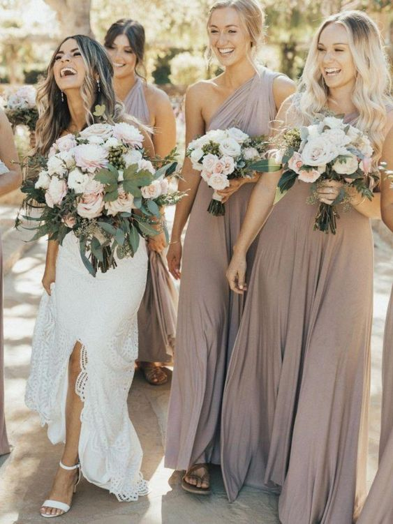 greige draped one shoulder maxi bridesmaid dresses are amazing for a spring or summer wedding