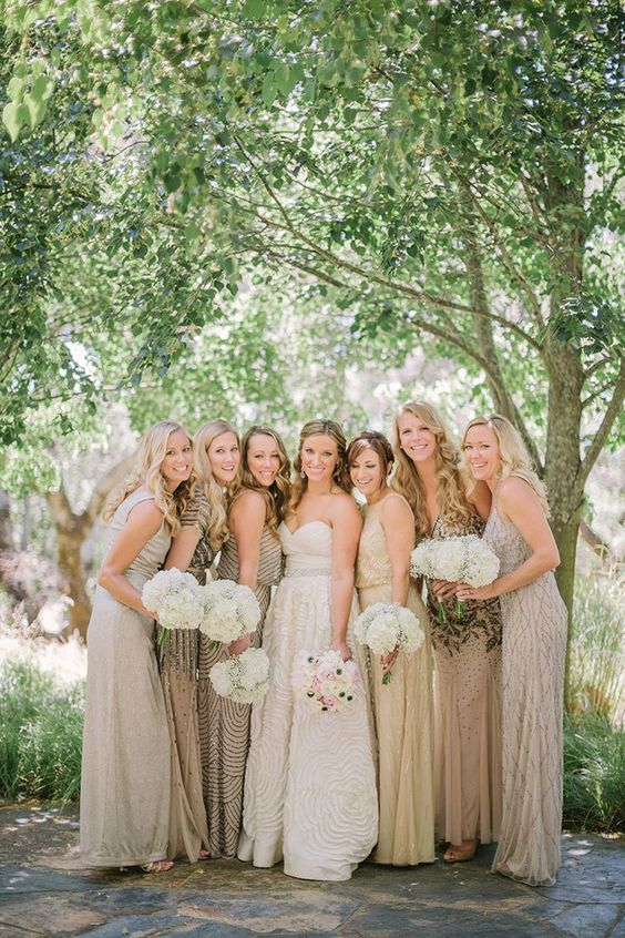 mismatching greige maxi bridesmaid dresses, with draperies, embellishments and other types of detailing are a chic solution