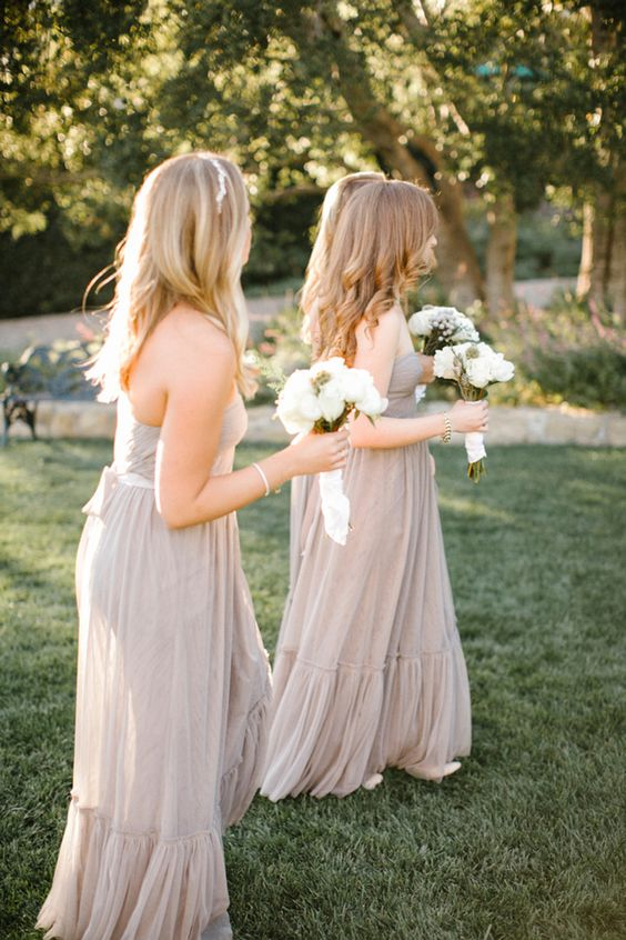 strapless geige maxi bridesmaid dresses with sashes are amazing for a delicate and refined spring or summer wedding