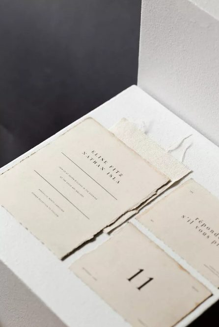 the hand-torn edges and tea-stained patina of this invitation suite give the stationery elements an elegant, antiqued look that will look classic for years