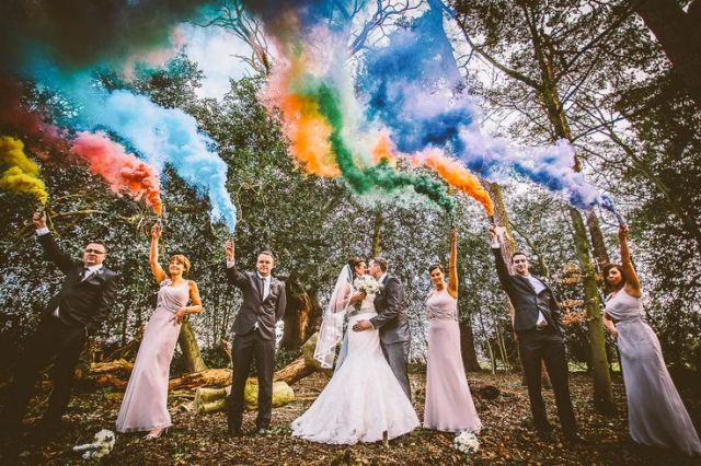 Picture Of Awesome Smoke Bomb Wedding Ideas 20
