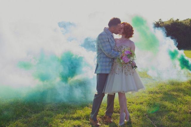 Picture Of Awesome Smoke Bomb Wedding Ideas 21