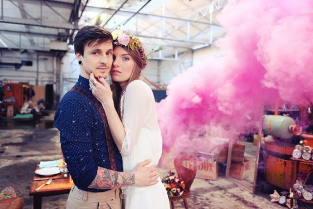 Picture Of Awesome Smoke Bomb Wedding Ideas 3