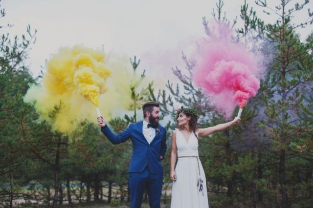 Picture Of Awesome Smoke Bomb Wedding Ideas 9