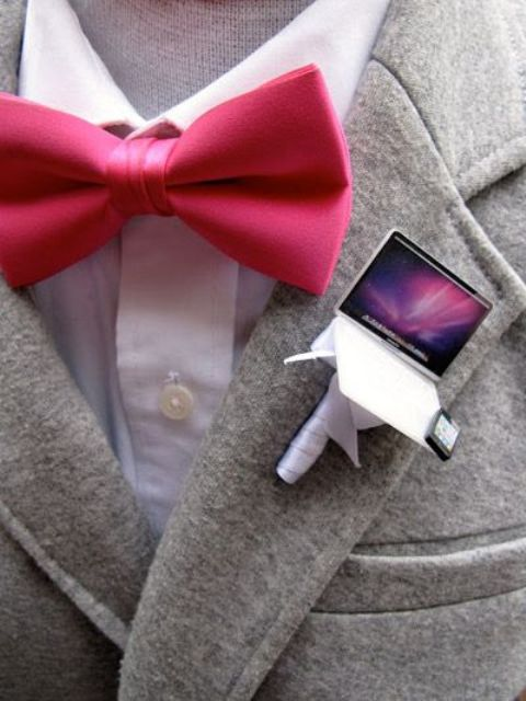 a mini laptop and phone wedding boutonniere is a unique and whimsy piece to accent your look