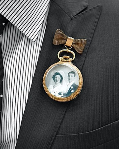 a vintage watch boutonniere with a family photo instead of usual numbers is a lovely way to commemorate those who have passed away