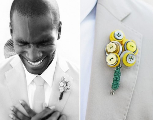 a colorful button boutonniere wiht a bright wrap is a lovely idea to accent your outfit and make it less formal