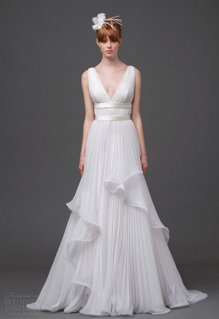 Picture Of Graceful Pleated Wedding Gowns 21
