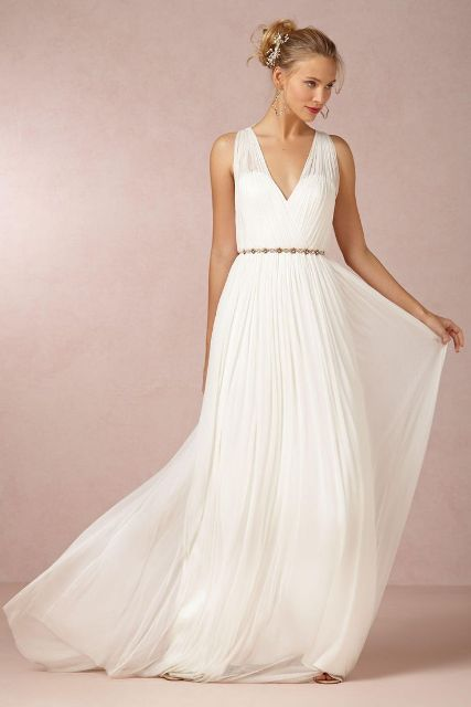 Picture Of Graceful Pleated Wedding Gowns 6