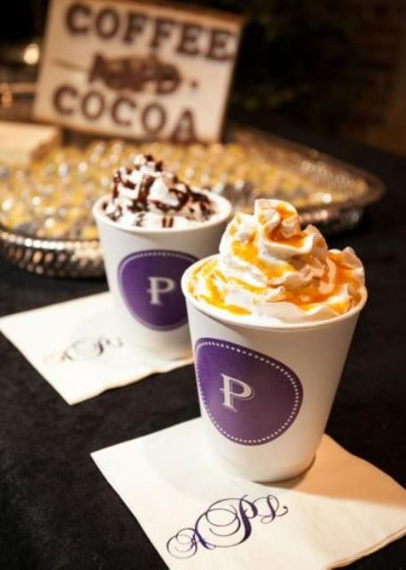 make monogrammed paper cups and napkins to personalize your hot chocolate bar