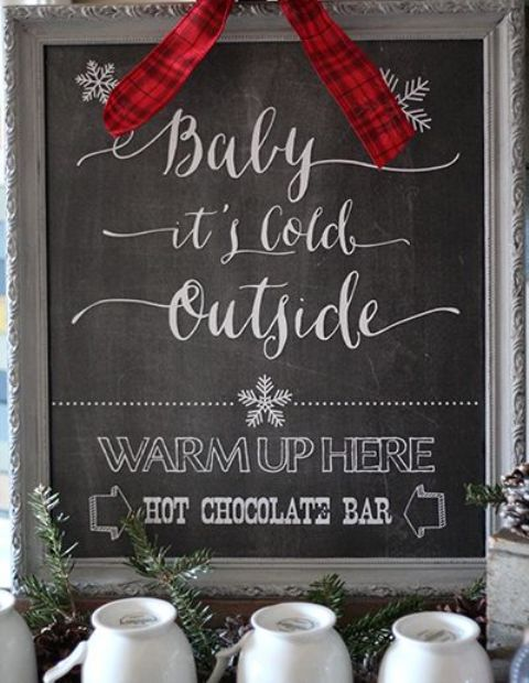 mark your hot chocolate bar with proper signage that you can easily make yourself, for example, a chalkboard one in an elegant frame