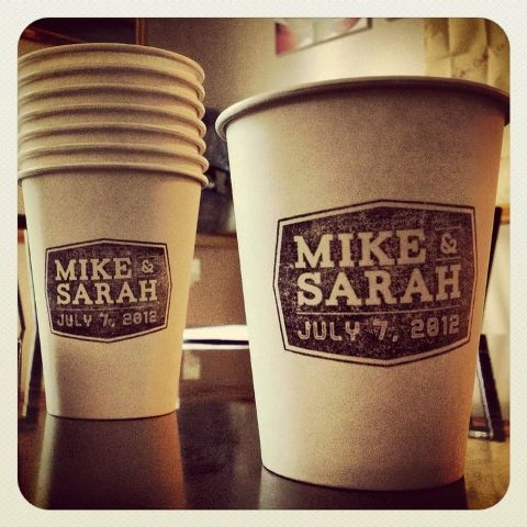 personalize your paper cups with your names and wedding date to make them cooler and cuter
