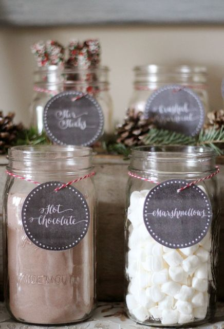 mark the jars with everything you serve with cute tags to add style and coziness to your hot chocolate bar