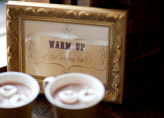 a mini sign in an elegant frame is a cool idea to rock at your hot chocolate bar