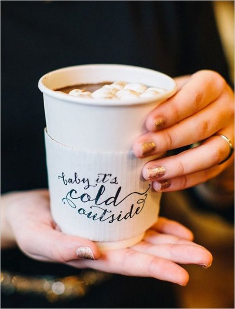 offer cardboard holders for hot cocoa cups and print something cute on them   this way you'll personalize each cup