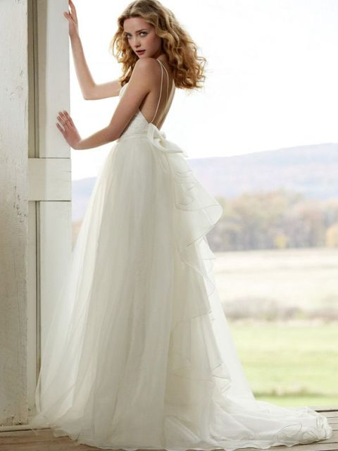 20 spaghetti strap backless wedding gowns weddingomania for Spaghetti strap low back wedding dress
