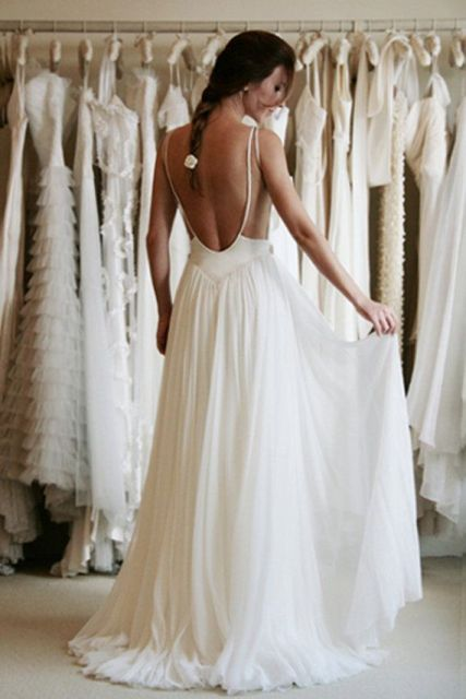 Spaghetti Strap Backless Wedding Gowns