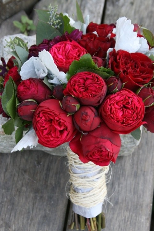 most gorgeous garden rose bridal bouquets - Red Garden Rose Bouquet