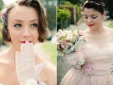 white lace gloves with lavender sheer flowers attached look very romantic and very refined
