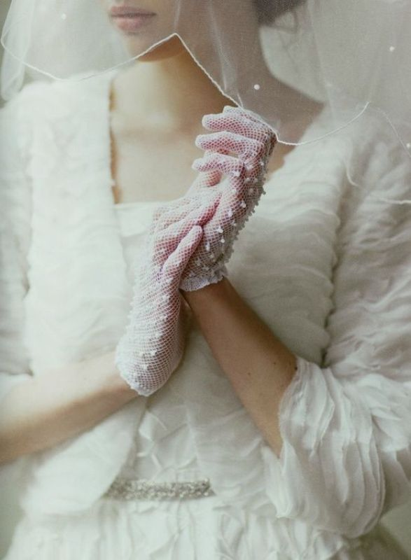 white net gloves with appliques will accent a retro or vintage bridal look in the best way possible