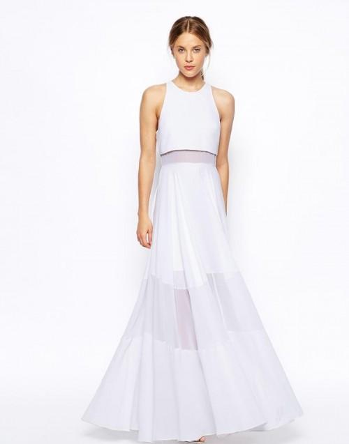 a minimalist lilac wedding dress with a halter neckline, an illusion maxi skirt