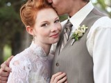 a vintage inspired groom's look with a grey waistcoat, cap, a striped tie and a white shirt