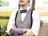 a vintage groom's look with a grey waistcoat, black pants and suspenders, a black bow tie and a black cap