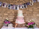 a garland of family photos is a nice and simple alternative to a family tree