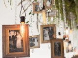 family photos, crystals, bulbs and greenery hanging down from the holder is a fun idea