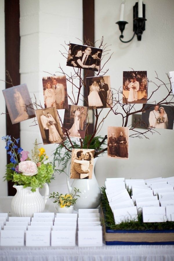 a simple family tree made of branches put into a simple white vase plus photos attached to them