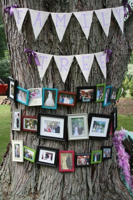 a real tree with a bunting and lots of family photos in colorful frames is a stylish and fun idea for an outdoor wedding