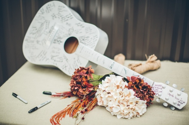Picture Of Funny Wedding Guitar Décor Ideas 14