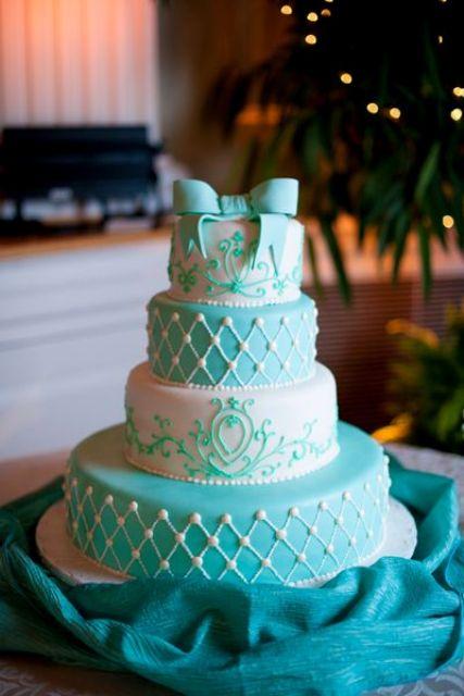 Tiffany Blue Wedding Cake Ideas