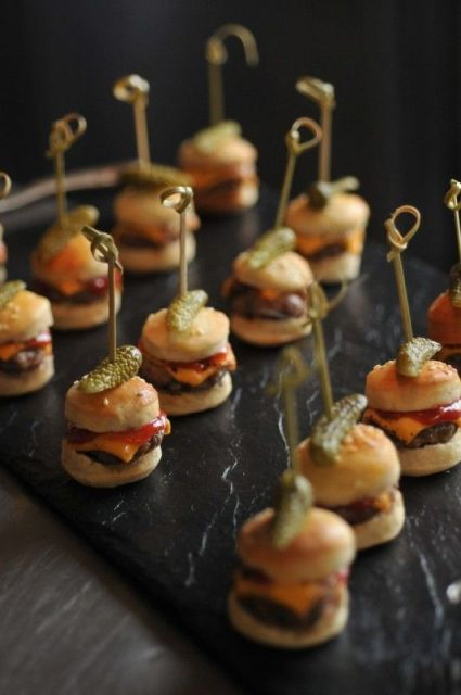a chic black stone tray will accent any food you are serving including tasty burgers or sliders