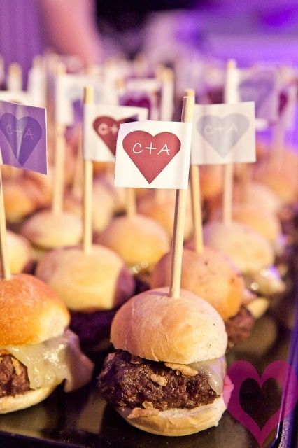 fresh burgers with toppers that keep the parts in place and show off your monograms, great for your wedding