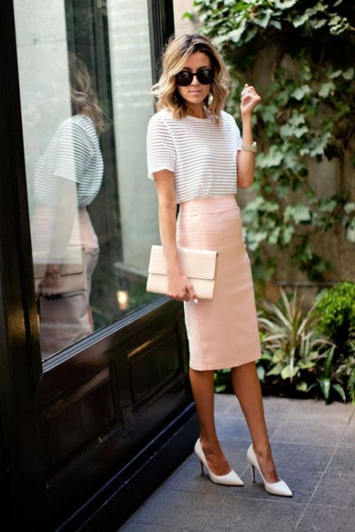 a casual look with a blush pencil skirt, a white striped top, white shoes and a white clutch
