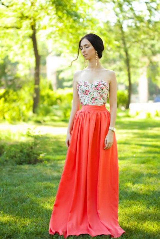 a strapless floral top, a red maxi dress, statement earrings for a formal spring wedding