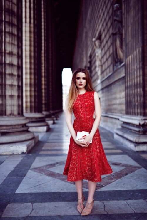 a red lace sleeveless A-line midi dress, nude spiked shoes and a white box clutch for a romantic look