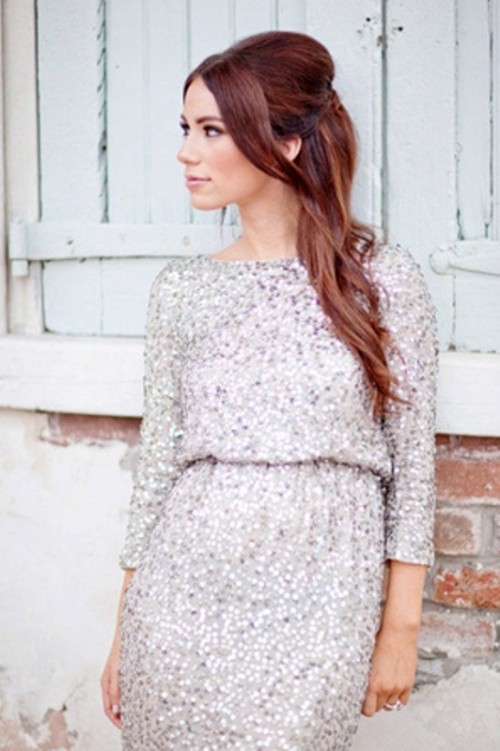 a silver sequin dress with a high neckline and long sleeves is a chic and beautiful option for any winter wedding