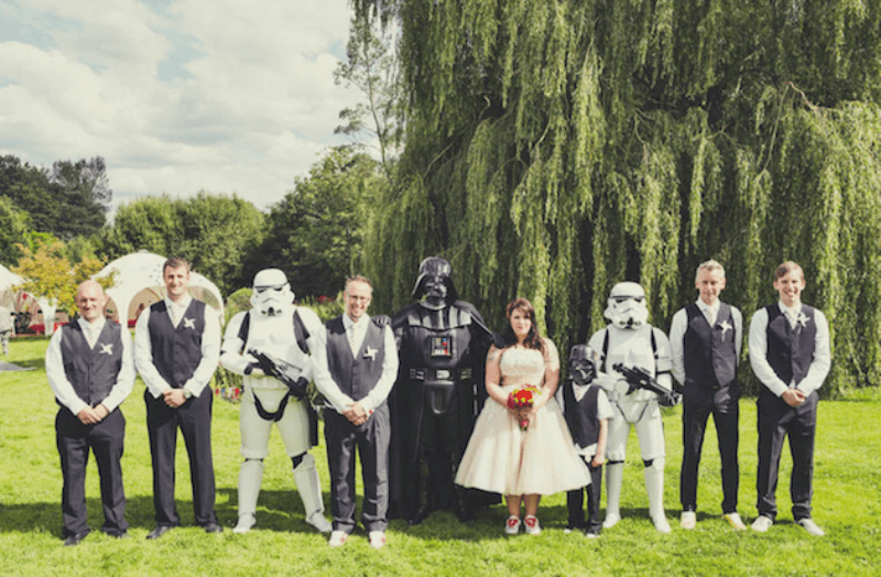 Darth Vader and stormtroopers will give a fun Star Wars touch to your wedding portraits