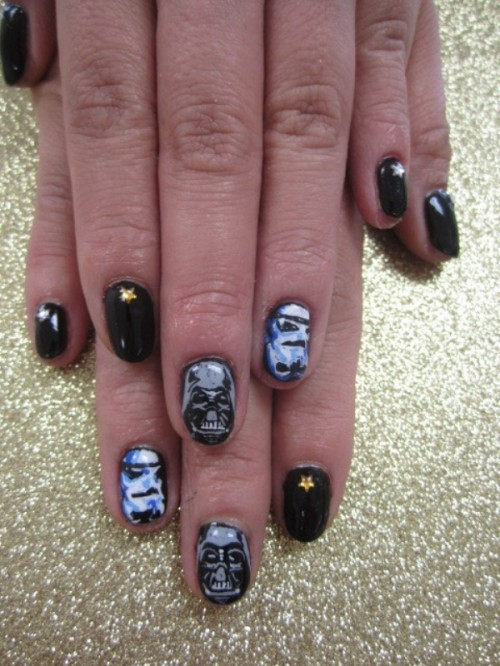 a Star Wars themed manicure with black, Darth Vader and Stormtrooper nails is a cool idea for a bride or bridesmaid