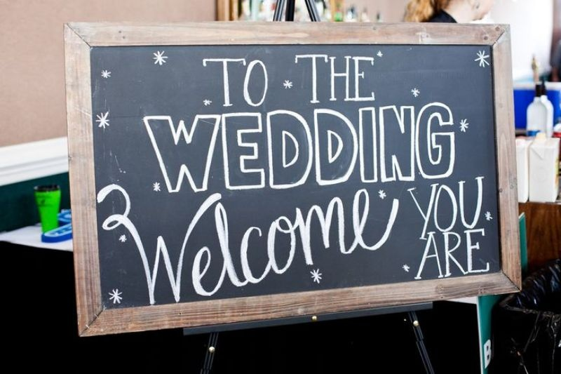 a chalkboard in a frame as a themed Star Wars wedding sign is a lovely idea for your wedding