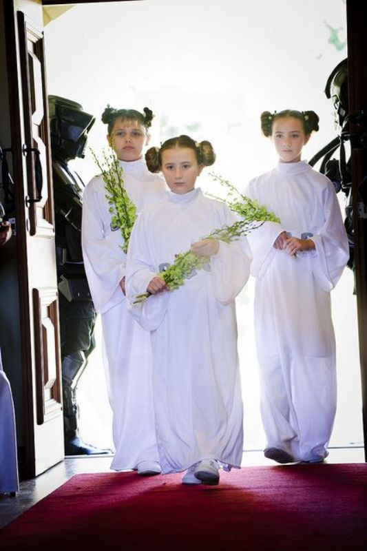 flower girls and bridesmaids dressed as Padme are a very cool and creative idea to rock