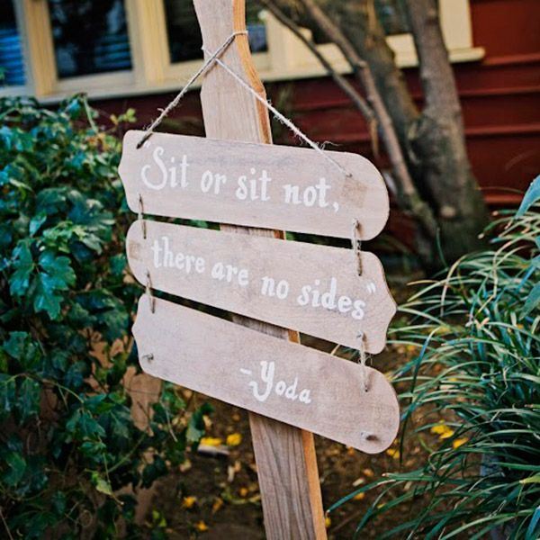 wedding signage styled with phrases from Yoda is a lovely and fun idea to rock