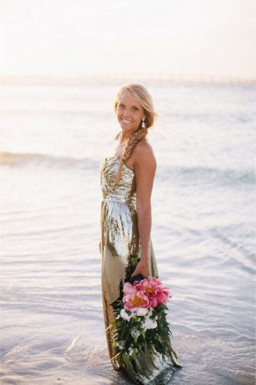 a fabulous gold sequin strapless wedding dress with a draped bodice and a pleated skirt for a beach or coastal bride