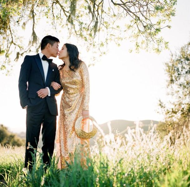 a gold sequin sheath wedding dress with long sleeves and a high neckline is a stylish glam idea for a bride who loves to bling