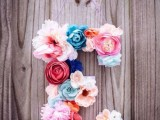 a monongram done with faux blooms is a guarantee that your decor won't wither