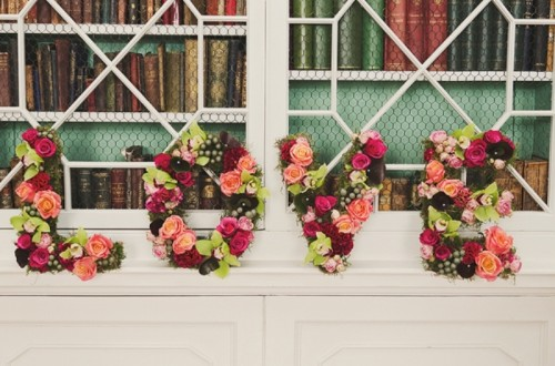 LOVE letters done with bold flowers are cool, modern and refreshing, use any blooms that match