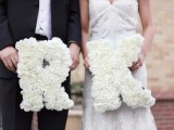 monograms done with white roses are very cute and classic – such a color is perfect for a black and white color scheme