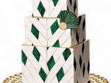 a square emerald and white wedding cake with an emerald fan and an art deco feel is amazing
